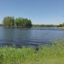 Rybník Hejtman s ostrůvkem, na který se dostanete suchou nohou