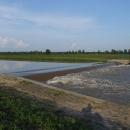 Zvýšená hladina vody hezky zakulacuje proud řeky na jezu