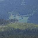 Chata Orlík je z některých míst hřebene vidět