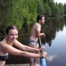 Ranní lázeň v rybníčku s krásně čistou vodou