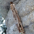 Pod vrcholem připevněná dřevěná socha neznámo nám koho